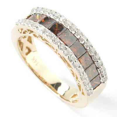 14K WG /Green Diamond or YG /Yellow or Cognac & White Diamond Choice Ring $ 494.40