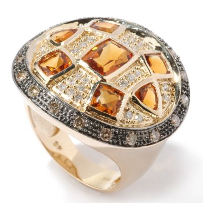 14K Gold Citrine & Chocolate / White Diamond Modern Shield Ring $ 445.80