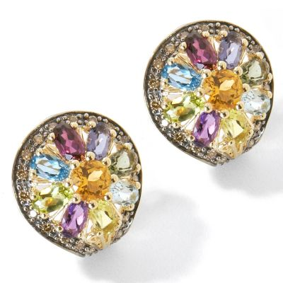 14K Gold Multi-Gemstone & Chocolate Diamond Flower Earrings $ 399.19