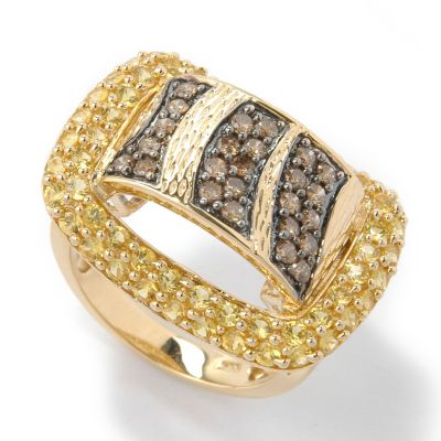 14K Gold Chocolate Diamond & Yellow Sapphire Buckle Ring $ 375.84