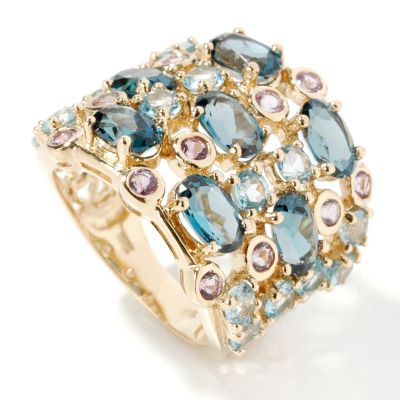 14K Gold Blue Topaz & Pink Amethyst Ring $ 353.39
