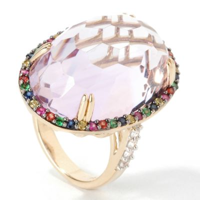 14K Gold Green or Pink Amethyst & Multi-Sapphire/Tsavorite Ring $ 298.25