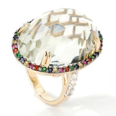 14K Gold Green or Pink Amethyst & Multi-Sapphire/Tsavorite Ring $ 298.25