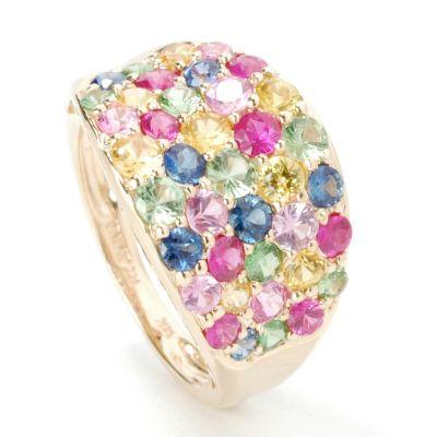 14K Gold Multi-Sapphire, Ruby & Tsavorite Ring $ 277.43