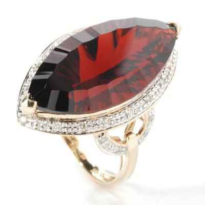 14K Gold Marquise Cut Garnet & Diamond Ring $ 457.12