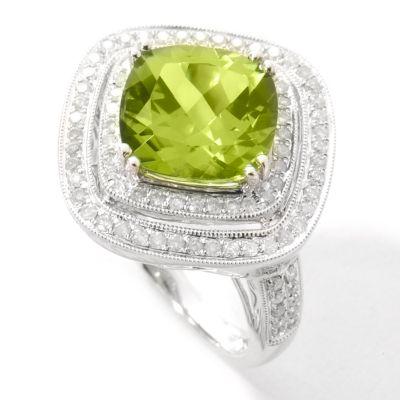 14K White Gold Peridot & Diamond Ring $ 915.00