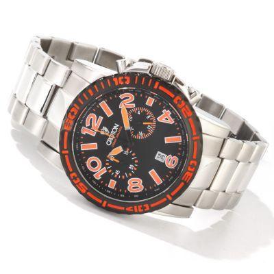 Croton Men's C-Monster Quartz Chronograph Stainless Steel Bracelet Watch ORANGE