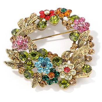 Multi-Color Crystal Flower Wreath Brooch