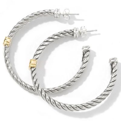 Sterling Silver / 18K Gold Twisted Hoop Earrings $ 149.55