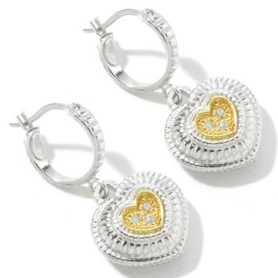 Sterling Silver / 18K Gold Diamond Heart Earrings $ 125.20