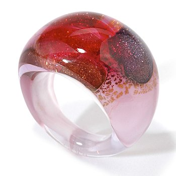 This smooth and sexy Murano glass ring is a mesmerizing kaleidoscope of color. The modern design with go nicely with a variety of looks and is sure to brighten your day whenever you wear it. This deli