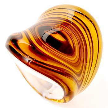 Shine like the sun with this unique and intriguing design! This ring is one that will top your hand in fabulous modern fashion and warm beautiful hues. Designed from Murano glass, it has swirls of gol
