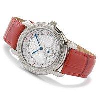 Lucien Piccard Women's Diamond Bezel Stainless Steel Leather Strap Watch EUR 0.00