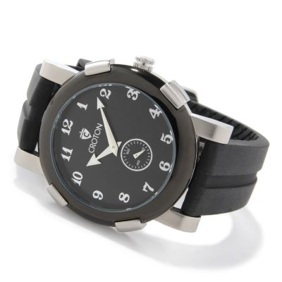 Croton Men's Seconds Sub-Dial Stainless Steel Rubber Strap Watch $ 49.87