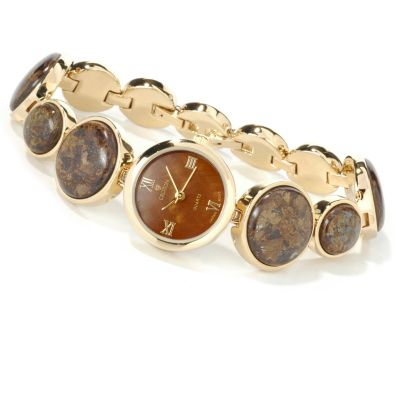 Croton Women's Round Link Gemstone & Stainless Steel Bracelet Watch $ 39.06