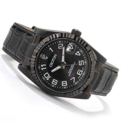 Croton Men's or Women's Coin Edge Bezel Leather Strap Watch $ 48.61