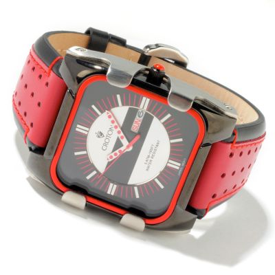 Croton Men's Quartz Rounded Square Italian Leather Strap Watch $ 77.00