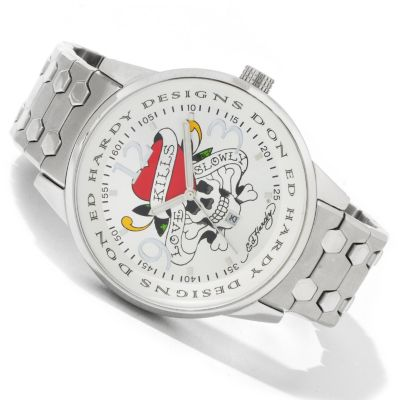 Ed Hardy Men's Stellar Love Kills Quartz Stainless Steel Bracelet Watch $ 139.92