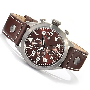 Invicta II Men's Military Quartz Dual Time Date Window Leather Strap Watch