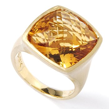 Gold Satin Finish & Citrine Ring :  blake