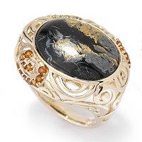 14K Gold Magnetite Jadeite, Madeira Citrine & Diamond Ring