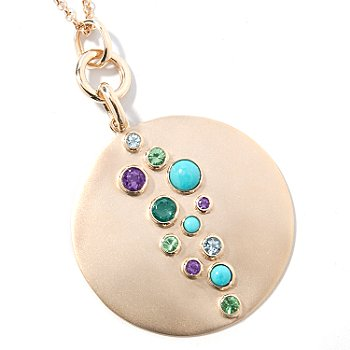 14K Gold Multi-Gemstone Pendant w/ Chain at ShopNBC.com