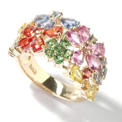 14K Gold Multi-Colored Sapphire Flower Ring $ 678.17
