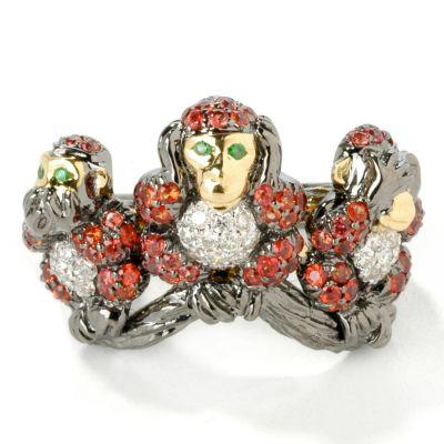 18K Gold Orange Sapphire, Diamond & Garnet Three Monkeys Black Rhodium Ring $ 910.03