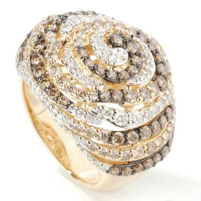14K Gold Chocolate & White Diamond Swirl Ring $ 1604.15