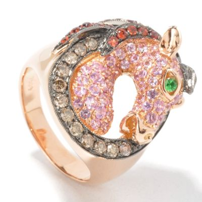18K Rose Gold Multi-Color Sapphire, Cocoa Diamond & Garnet Horse Ring. ROSE GOLD $ 2000.00
