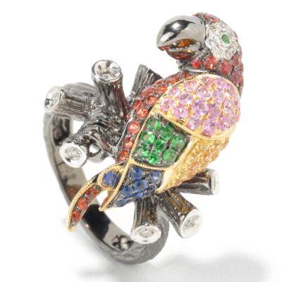 18K White Gold Multi-Color Sapphire, Diamond & Green Garnet Parrot Ring $ 1512.43