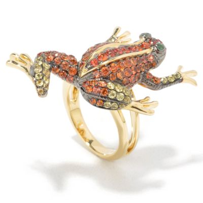 18K Gold Multi-Color Sapphire & Green Garnet Frog Ring $ 1465.16