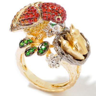 14K Gold Multi-Color Sapphire, Diamond & Gems Bird Ring $ 1995.00