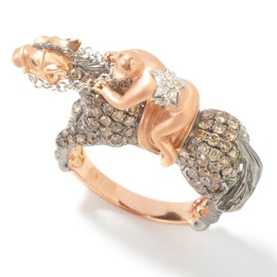 18K Rose Gold 1.85ct Cocoa / White Diamond & Green Garnet Horse Jockey Ring $ 2378.91