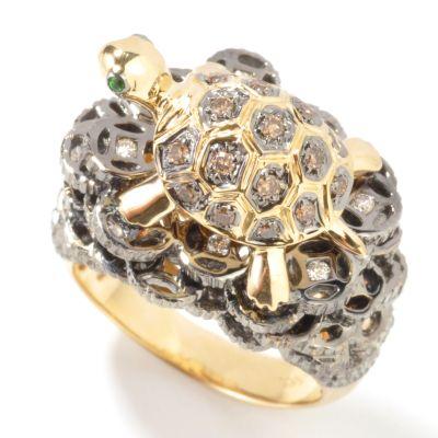 14K Gold Cocoa / White Diamond & Green Garnet Turtle Ring $ 959.67
