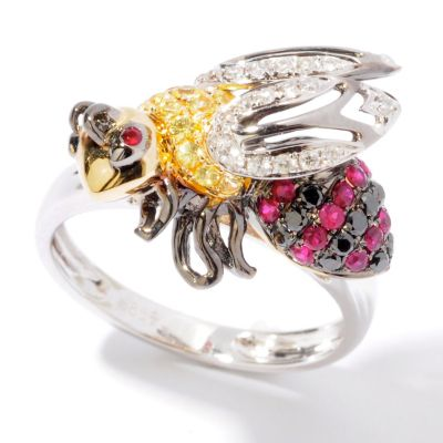 14K White Gold White / Black Diamond, Yellow Sapphire & Ruby Bee Ring. WHITE GOLD, 9 $ 838.00