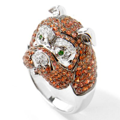 14K White Gold Orange Sapphire, Diamond & Green Garnet Bull Dog Ring $ 1599.18