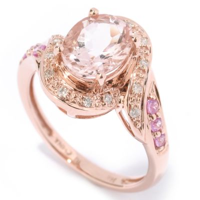 14K Rose Gold Pink Morganite, Pink Sapphire & Diamond Ring $ 221.14