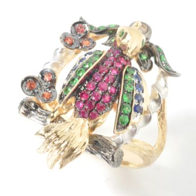 14K Gold Multi-Gem 'Bird on a Branch' Ring $ 593.11
