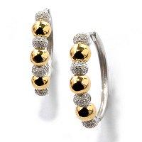 Sterling Silver / Platinum & 18K Rose or Yellow Vermeil Diamond Earrings