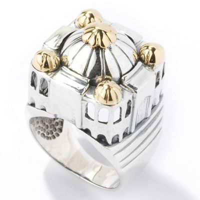 Sterling Silver / 18K Gold 'Seven Wonders of the New World' Taj Mahal Ring $ 198.76