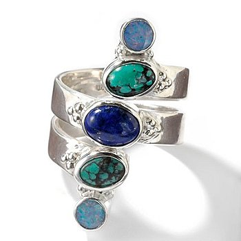 Perfect for when you want to add style without over doing it! Designed in sterling silver, this ring features one oval shaped 6x8mm lapis cabochon. It also features two oval shaped 5x7mm turquoise cab :  sterling silver lapis turquoise opal ring on sale lapis silver