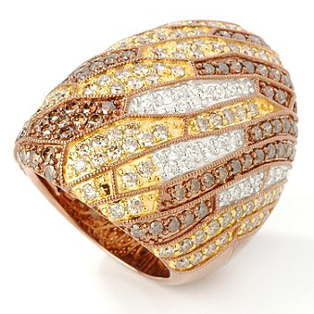14K Rose Gold 4.10ct Chocolate & White Diamond Multi-Grain Ring at ShopNBC.com