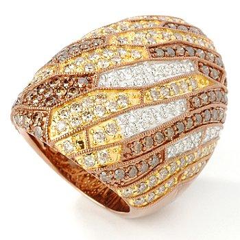 14K Rose Gold 4.10ct Chocolate & White Diamond Multi-Grain Ring at ShopNBC.com