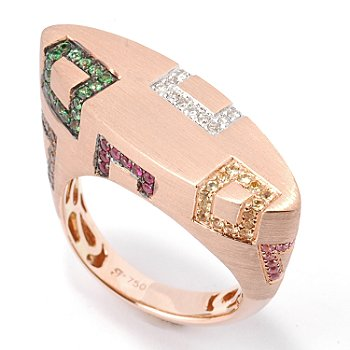 18K Rose Gold Multi-Gemstone & Diamond Contemporary Ring at ShopNBC.com