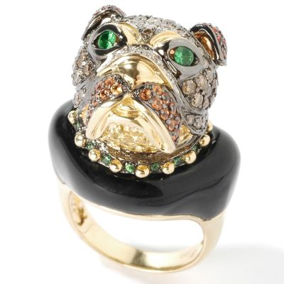 18K Orange/Yellow Sapphire, Chocolate Diamond & Green Garnet Bulldog Ring $ 1986.65