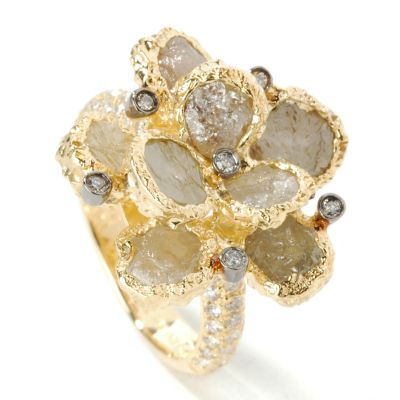 18K Rose or Yellow Gold 5.01ct Natural Yellow or Pink Diamond Rose Ring $ 1735.97
