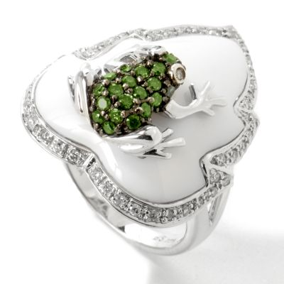14K White Gold White Agate & Green / White Diamond Frog Ring $ 779.00