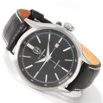 S. Coifman Men's Swiss Made Automatic Date Window Leather Strap Watch BLACK