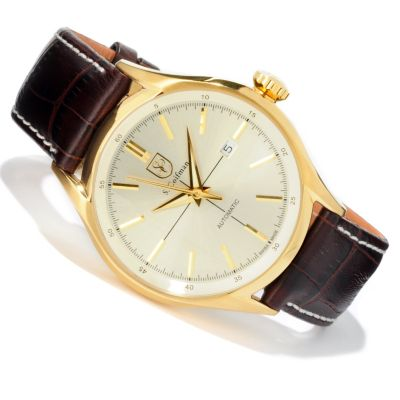 S. Coifman Men's Swiss Made Automatic Date Window Leather Strap Watch CHAMPAGNE